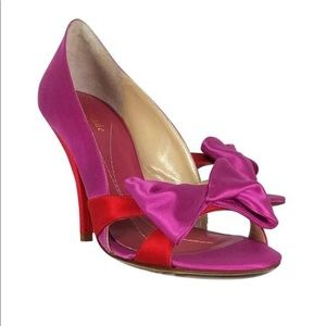 Kate Spade Pink Res Bow Heels Sz 7B Satin Open Toe